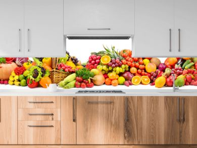 Large collection fresh fruits and vegetables useful for health isolated on white