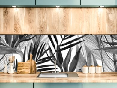 Watercolor tropical seamless pattern with bird-of-paradise flower, palm leaves in black and white colors.