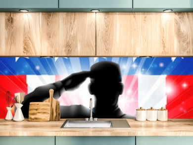 US flag military soldier saluting in silhouette