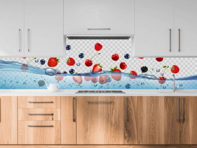 Fresh fruits and berries splashing in water waves with air bubbles and sunbeams. 3d realistic high quality Vector.