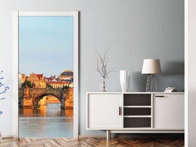 Panorama of Charles bridge in Prague, Czech republic