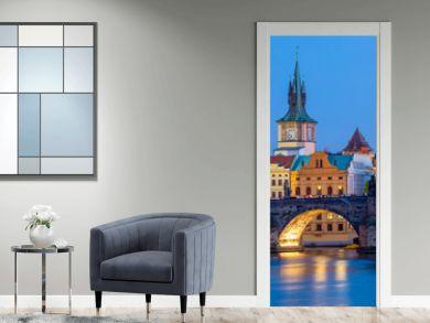 Famous Prague Landmarks - towers and bridge at night