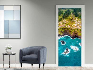 Aerial view - land meets ocean in Seixal, Madeira, Portugal