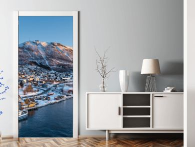 Aerial view to the city of Tromso and it's marina in winter, North Norway.