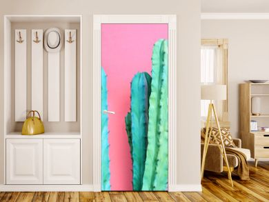 Fashion Blue colored Cactus on pastel pink background. Trendy tropical cacti plant close-up. Art Concept. Creative fashionable Style. Sweet summer mood