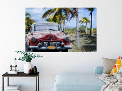 Old car on a tropical beach