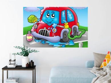 Cartoon car wash on road