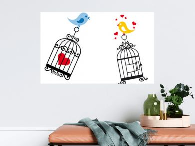 birds in love with birdcage
