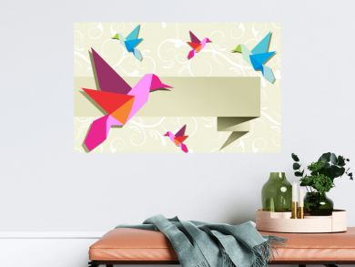 Origami hummingbird group with banner