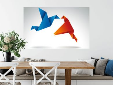 Paper Kiss, Origami symbolic vector illustration.