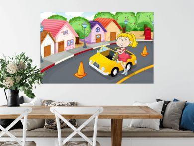 a girl with car