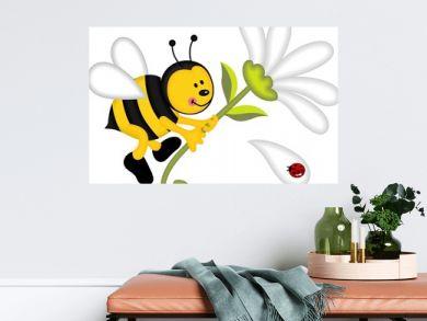 Bee flying holding flower