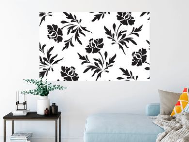Black and white seamless  floral pattern