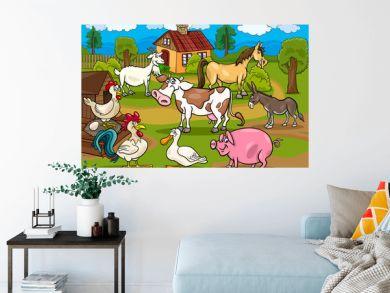 farm animals rural scene cartoon illustration