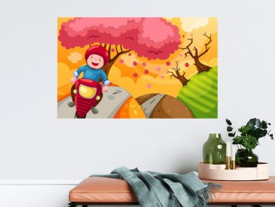 landscape cartoon boy riding motorcycle
