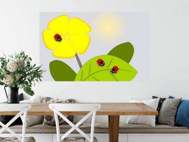 Three cute ladybugs and a yellow flower