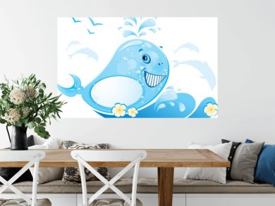 funny whale is made of water drop