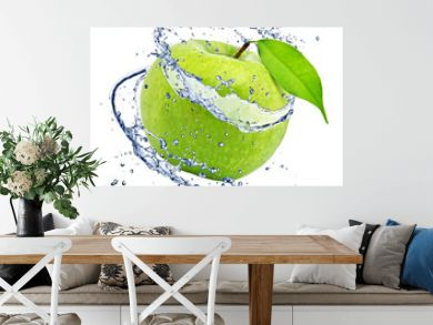 Green apple with water splash, isolated on white background