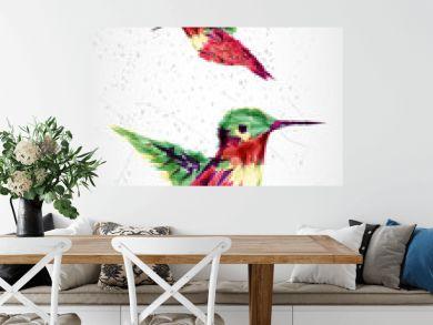 Humming bird geometric illustration.