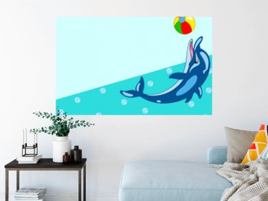 Pattern with cartoon dolphin