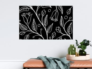 Seamless floral pattern with bellflowers, white on black