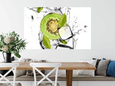 Kiwi with ice cubes, isolated on white background