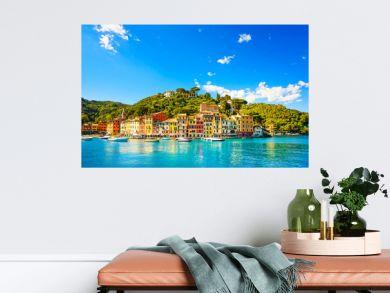 Portofino luxury village landmark, panorama view. Liguria, Italy