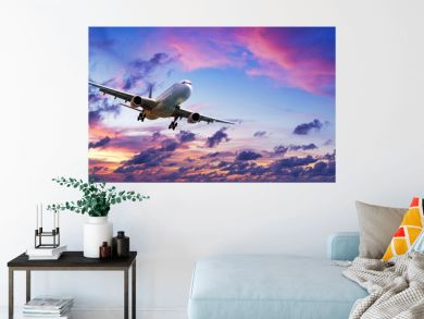 Jet plane in a spectacular sunset sky