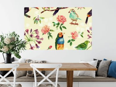 A seamless pattern with vintage style watercolor birds and roses