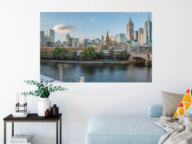 Melbourne cityscape with panorama view.