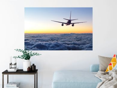 plane flying away in the sky