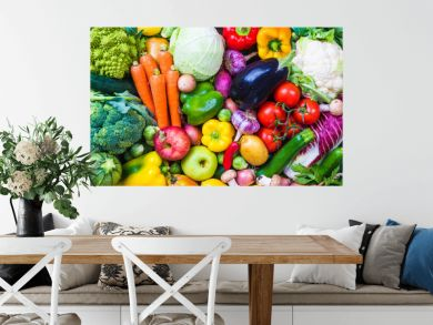 Vegetables and fruits background.