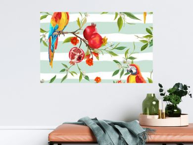 Tropical Flowers, Pomegranates and Parrot Birds Background