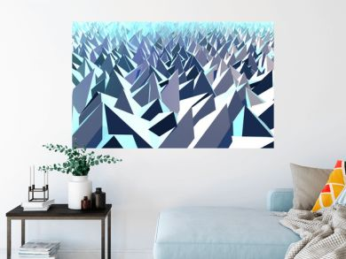3D Illustration - Abstract low poly background of pyramid shapes