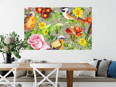 Flowers, meadow grass, birds. Vintage seamless floral pattern. Watercolor