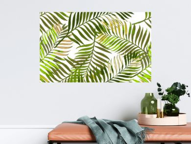Vector summer seamless pattern with palm leaves. Hand drawn tropical palm leaves background. Design for fashion textile summer print, wrapping paper, web backgrounds.