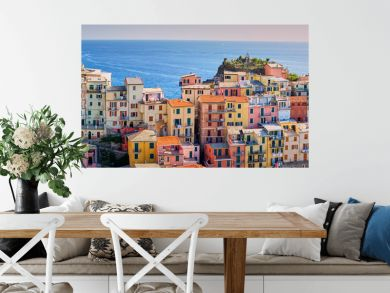 Famous town of Manarola in Cinque Terre / Colorful houses of Liguria