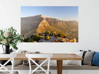 XXL panorama of Table Mountain and the Twelve Apostles mountain range seen from Lion's Head near Signal Hil in the evening sun. Camps Bay on the right, city of Cape Town on the left. South Africa.