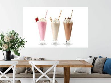 Delicious milkshakes isolated on white