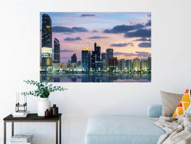 View of Abu Dhabi Skyline at sunset