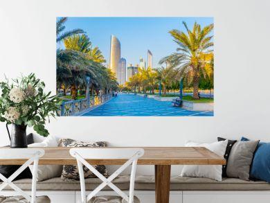 View of the corniche - promenade in Abu Dhabi, UAE