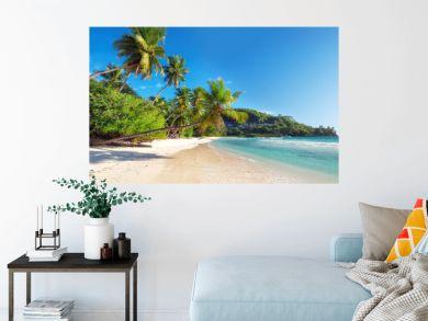 Amazing  tropical paradise Anse Takamaka beach on Seychelles.