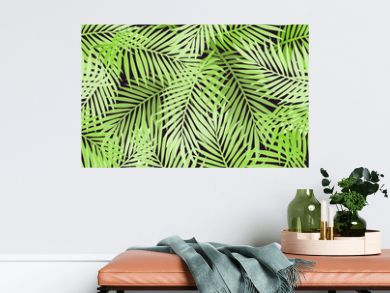 Tropical party invitation design with palm leaves. Summer hawaiian flyer. Jungle palm tree leaves seamless pattern