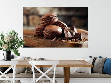 macarons sweet chocolate macaron French on wooden table