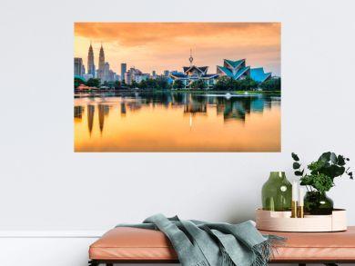 Kuala Lumpur, Malaysia. Sunset skyline from Titiwangsa Park.