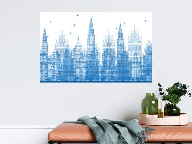 Outline Antwerp Belgium City Skyline with Blue Buildings.