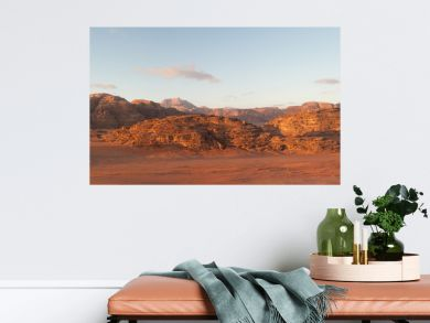 panoramic view of wadi rum desert at sunrise