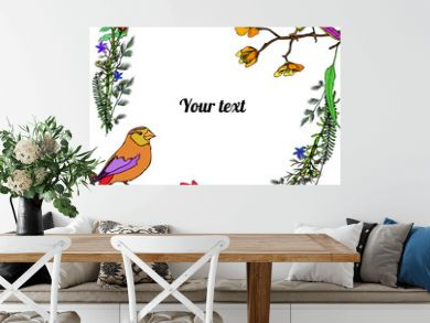Frame of flowers with birds