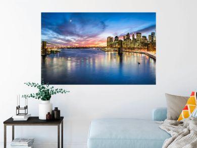 New York City Skyline Panorama mit Brooklyn Bridge und Blick Blick auf Manhattan