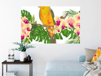 Floral border seamless background and Sun Conure Parrot standing on a yellow orchid  Phalaenopsis and palm, phiodendronon on a white background vector illustration editable hand draw